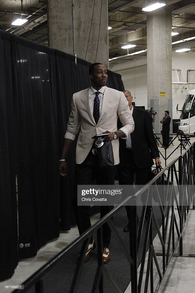Dwight Howard #12 of the Los Angeles Lakers arrives for the Game One of the Western Conference Quarterfinals between the Los Angeles Lakers and the San Antonio Spurs on April 21, 2013 at the AT&T Center in San Antonio, Texas.