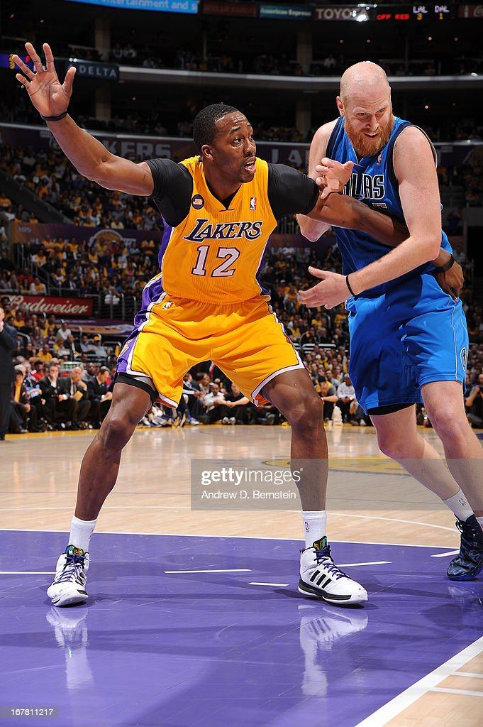 <a gi-track='captionPersonalityLinkClicked' href=/galleries/search?phrase=Dwight+Howard&family=editorial&specificpeople=201570 ng-click='$event.stopPropagation()'>Dwight Howard</a> #12 of the Los Angeles Lakers calls for the ball against the Dallas Mavericks at Staples Center on April 2, 2013 in Los Angeles, California.