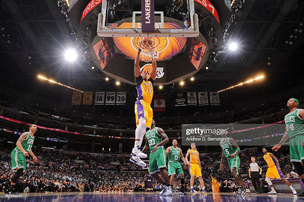 Dwight Howard #12 of the Los Angeles Lakers dunks against the Boston Celtics at Staples Center on February 20, 2013 in Los Angeles, California.