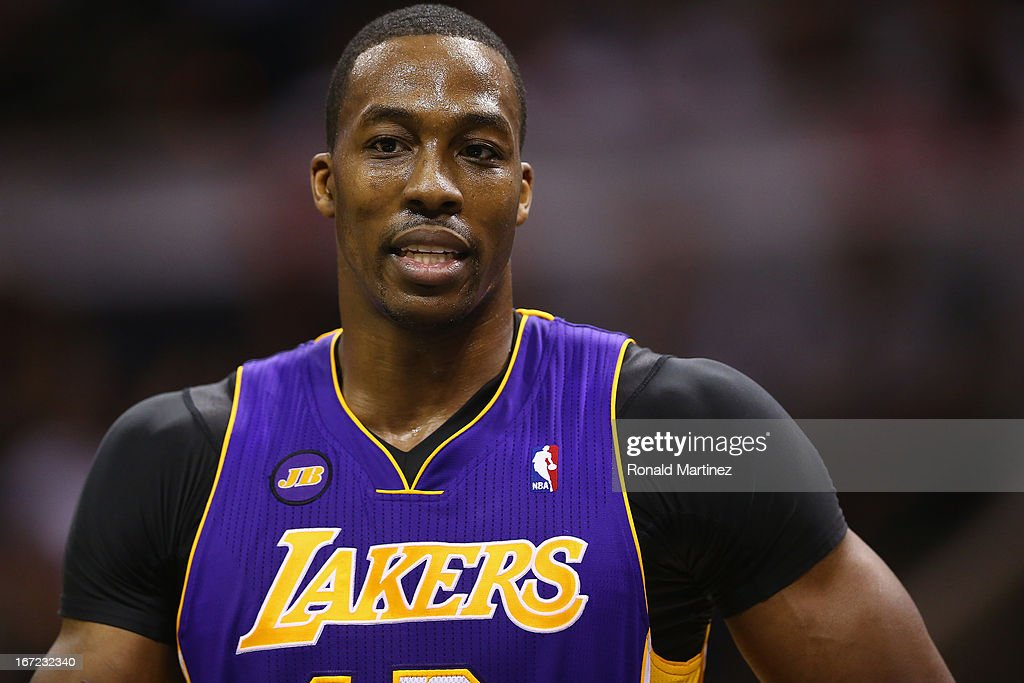 Dwight Howard #12 of the Los Angeles Lakers during Game One of the Western Conference Quarterfinals of the 2013 NBA Playoffs at AT&T Center on April 21, 2013 in San Antonio, Texas.