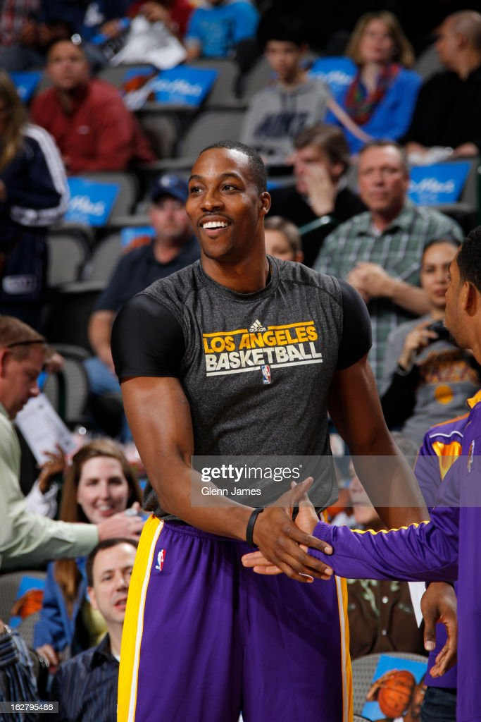 <a gi-track='captionPersonalityLinkClicked' href=/galleries/search?phrase=Dwight+Howard&family=editorial&specificpeople=201570 ng-click='$event.stopPropagation()'>Dwight Howard</a> #12 of the Los Angeles Lakers gets ready before the game against the Dallas Mavericks on February 24, 2013 at the American Airlines Center in Dallas, Texas.