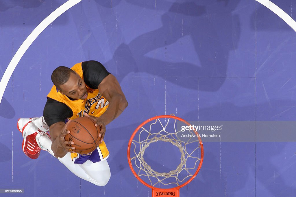 <a gi-track='captionPersonalityLinkClicked' href=/galleries/search?phrase=Dwight+Howard&family=editorial&specificpeople=201570 ng-click='$event.stopPropagation()'>Dwight Howard</a> #12 of the Los Angeles Lakers goes up strong to the basket against the Los Angeles Clippers at Staples Center on February 14, 2013 in Los Angeles, California.