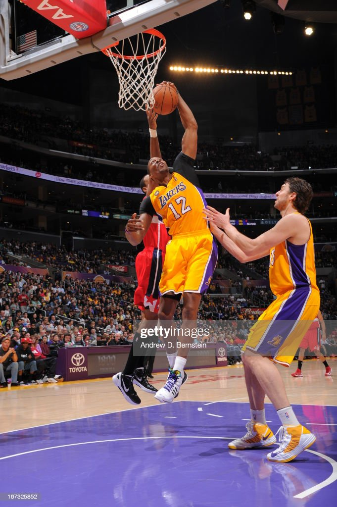 <a gi-track='captionPersonalityLinkClicked' href=/galleries/search?phrase=Dwight+Howard&family=editorial&specificpeople=201570 ng-click='$event.stopPropagation()'>Dwight Howard</a> #12 of the Los Angeles Lakers grabs a rebound against the Washington Wizards at Staples Center on March 22, 2013 in Los Angeles, California.