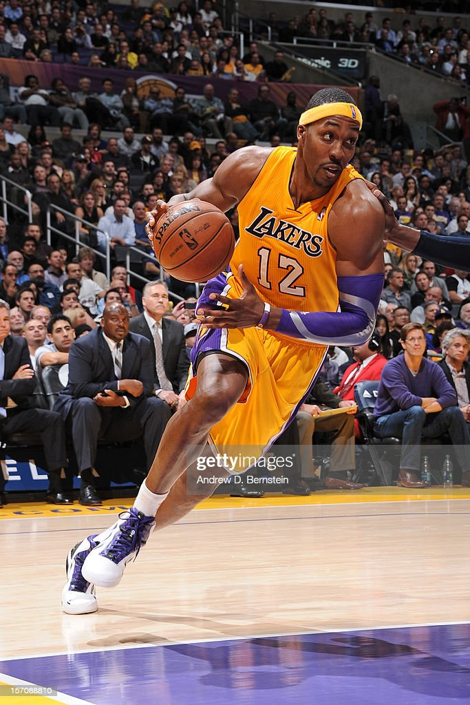 <a gi-track='captionPersonalityLinkClicked' href=/galleries/search?phrase=Dwight+Howard&family=editorial&specificpeople=201570 ng-click='$event.stopPropagation()'>Dwight Howard</a> #12 of the Los Angeles Lakers handles the ball against the Indiana Pacers at Staples Center on November 27, 2012 in Los Angeles, California.