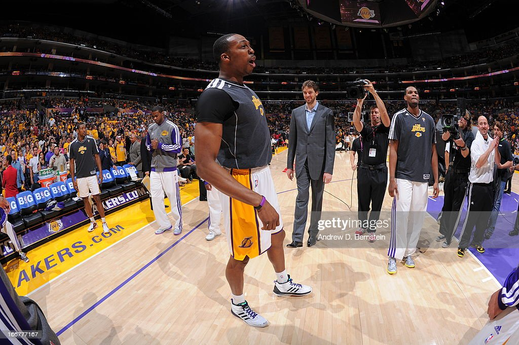 <a gi-track='captionPersonalityLinkClicked' href=/galleries/search?phrase=Dwight+Howard&family=editorial&specificpeople=201570 ng-click='$event.stopPropagation()'>Dwight Howard</a> #12 of the Los Angeles Lakers is introduced before the game against the Chicago Bulls at Staples Center on March 10, 2013 in Los Angeles, California.