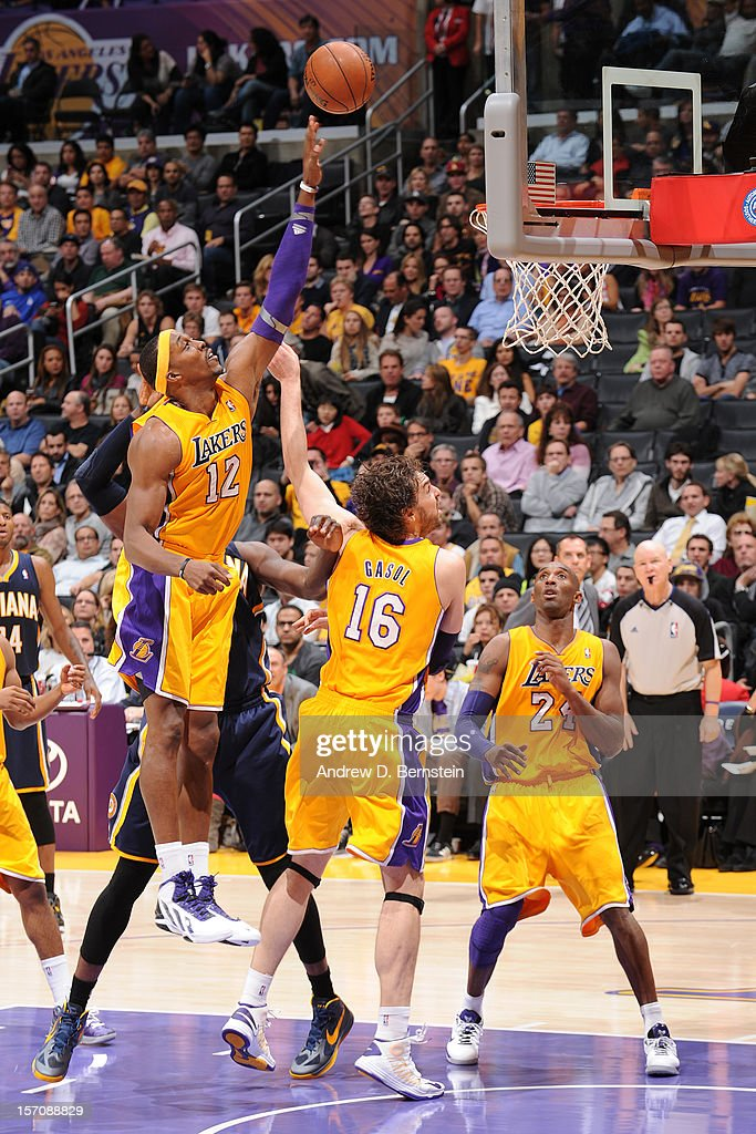 Dwight Howard #12 of the Los Angeles Lakers lays the ball in against the Indiana Pacers at Staples Center on November 27, 2012 in Los Angeles, California.