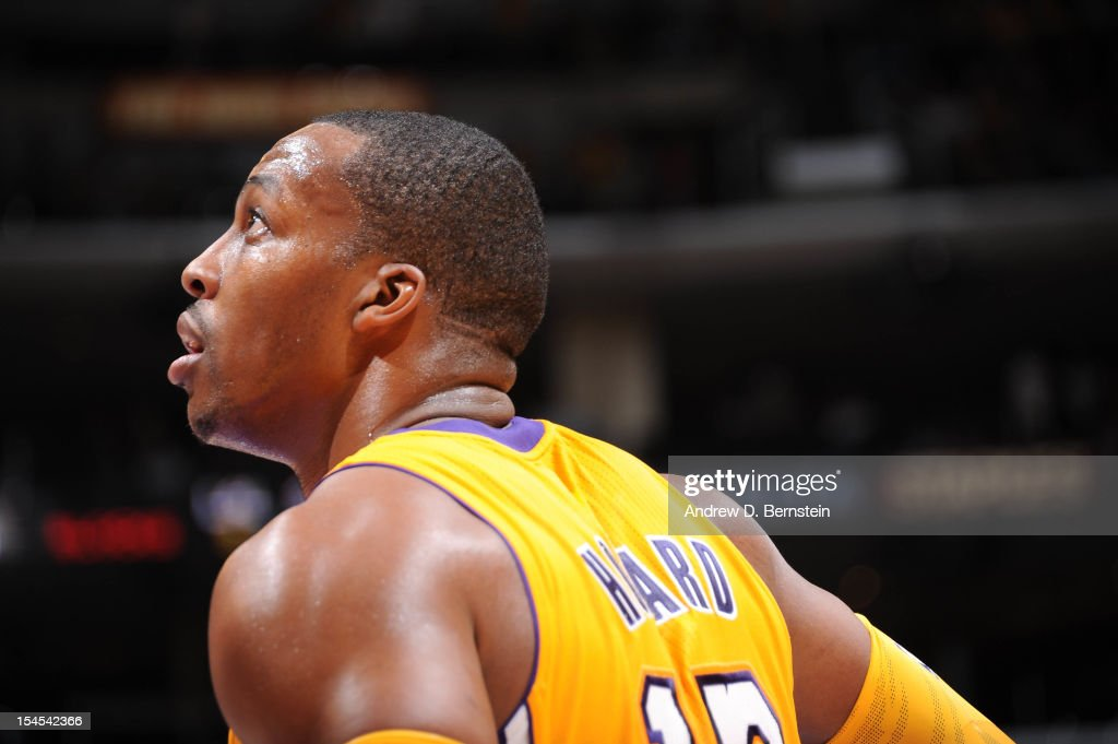 <a gi-track='captionPersonalityLinkClicked' href=/galleries/search?phrase=Dwight+Howard&family=editorial&specificpeople=201570 ng-click='$event.stopPropagation()'>Dwight Howard</a> #12 of the Los Angeles Lakers looks on against the Sacramento Kings during a pre-season game at Staples Center on October 21, 2012 in Los Angeles, California.