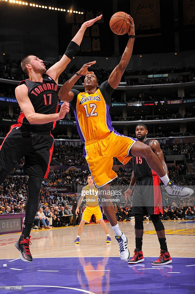 <a gi-track='captionPersonalityLinkClicked' href=/galleries/search?phrase=Dwight+Howard&family=editorial&specificpeople=201570 ng-click='$event.stopPropagation()'>Dwight Howard</a> #12 of the Los Angeles Lakers puts up a shot against the Toronto Raptors at Staples Center on March 8, 2013 in Los Angeles, California.