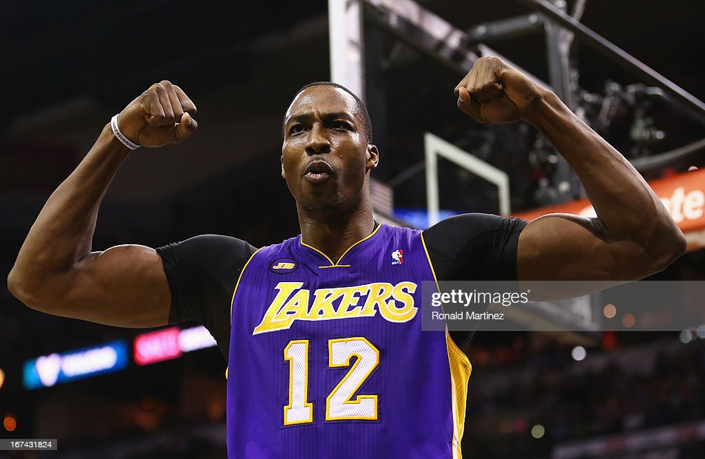 Dwight Howard #12 of the Los Angeles Lakers reacts after being fouled against the San Antonio Spurs during Game Two of the Western Conference Quarterfinals of the 2013 NBA Playoffs at AT&T Center on April 24, 2013 in San Antonio, Texas.