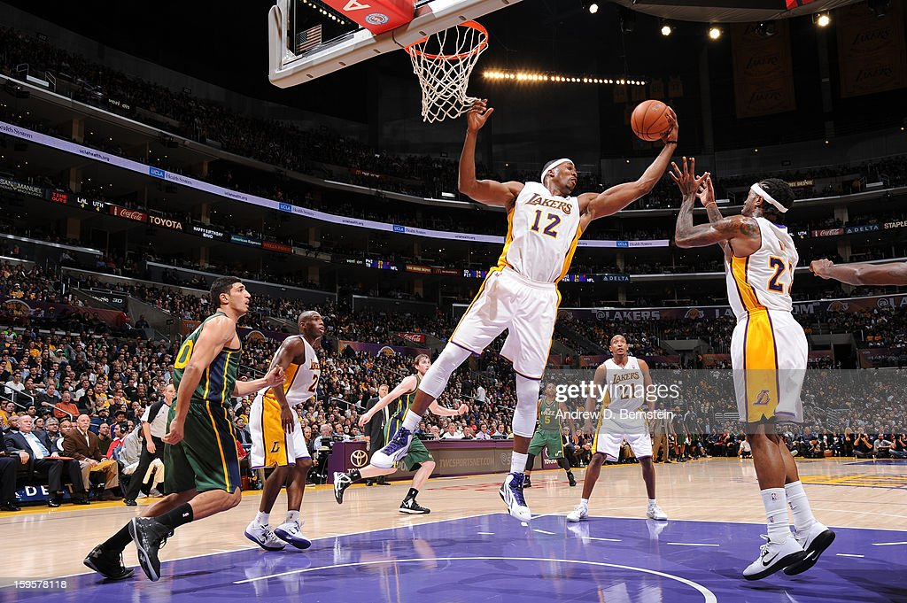 Dwight Howard #12 of the Los Angeles Lakers rebounds against the Utah Jazz at Staples Center on December 9, 2012 in Los Angeles, California.