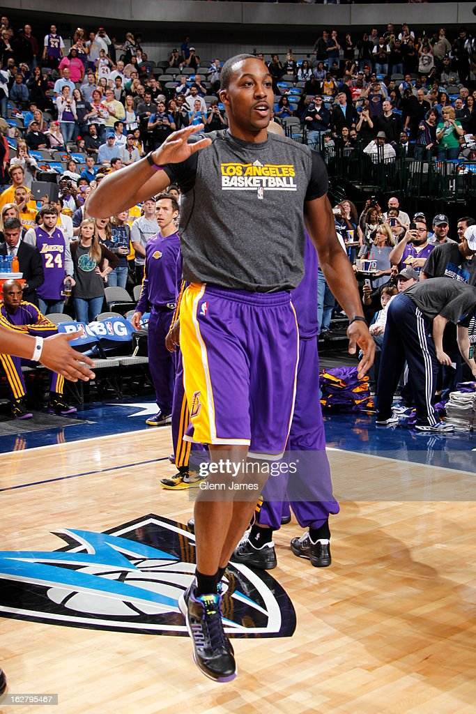 <a gi-track='captionPersonalityLinkClicked' href=/galleries/search?phrase=Dwight+Howard&family=editorial&specificpeople=201570 ng-click='$event.stopPropagation()'>Dwight Howard</a> #12 of the Los Angeles Lakers runs out before the game against the Dallas Mavericks on February 24, 2013 at the American Airlines Center in Dallas, Texas.