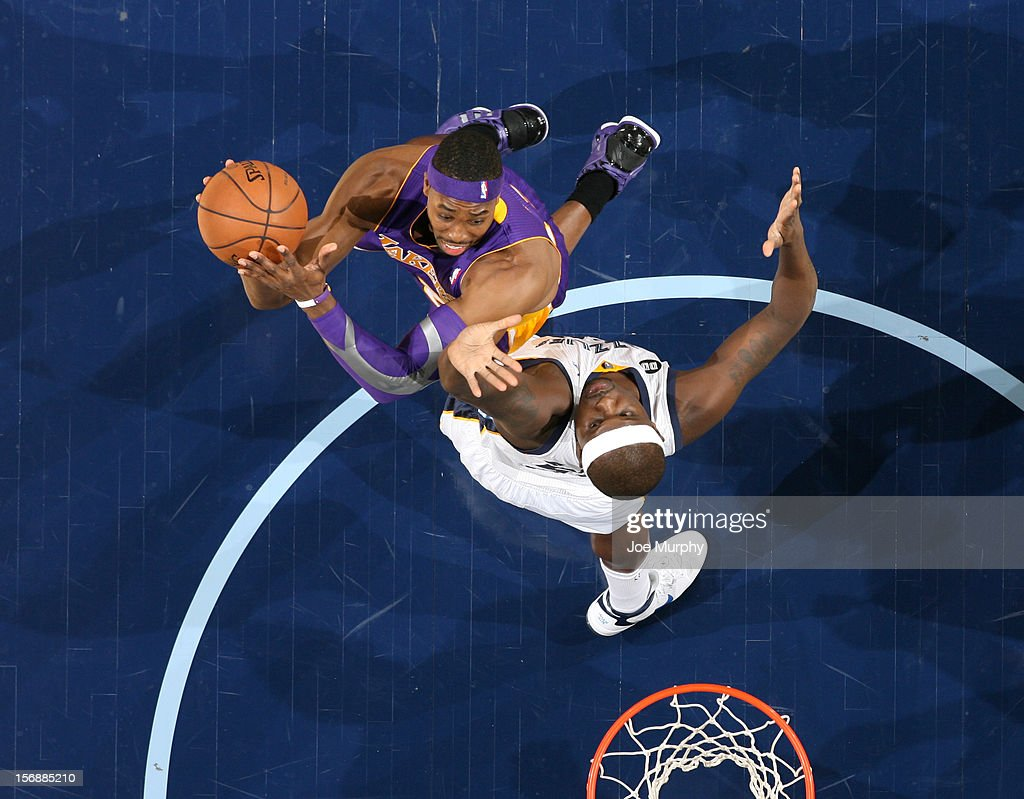 <a gi-track='captionPersonalityLinkClicked' href=/galleries/search?phrase=Dwight+Howard&family=editorial&specificpeople=201570 ng-click='$event.stopPropagation()'>Dwight Howard</a> #12 of the Los Angeles Lakers shoots against <a gi-track='captionPersonalityLinkClicked' href=/galleries/search?phrase=Zach+Randolph&family=editorial&specificpeople=201595 ng-click='$event.stopPropagation()'>Zach Randolph</a> #50 of the Memphis Grizzlies on November 23, 2012 at FedExForum in Memphis, Tennessee.