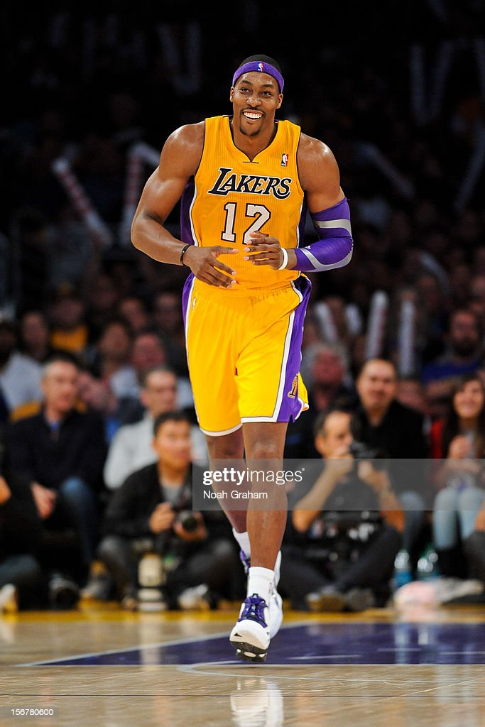 <a gi-track='captionPersonalityLinkClicked' href=/galleries/search?phrase=Dwight+Howard&family=editorial&specificpeople=201570 ng-click='$event.stopPropagation()'>Dwight Howard</a> #12 of the Los Angeles Lakers smiles while playing against the Brooklyn Nets at Staples Center on November 20, 2012 in Los Angeles, California.