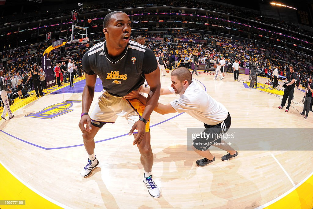 <a gi-track='captionPersonalityLinkClicked' href=/galleries/search?phrase=Dwight+Howard&family=editorial&specificpeople=201570 ng-click='$event.stopPropagation()'>Dwight Howard</a> #12 of the Los Angeles Lakers stretches before the game against the Chicago Bulls at Staples Center on March 10, 2013 in Los Angeles, California.