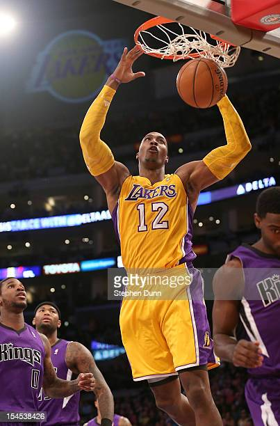 Dwight Howard of the Los Angeles Lakers sunks against the Sacramento Kings at Staples Center on October 21 2012 in Los Angeles California NOTE TO...