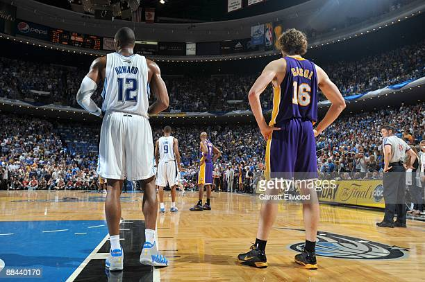 Dwight Howard of the Orlando Magic and Pau Gasol of the Los Angeles Lakers during Game Four of the 2009 NBA Finals at Amway Arena on June 11 2009 in...