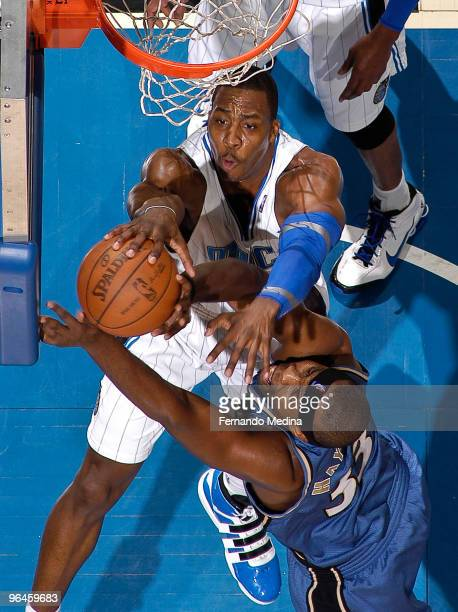 Dwight Howard of the Orlando Magic blocks a shot against Brendan Haywood of the Washington Wizards during the game on February 5 2010 at Amway Arena...
