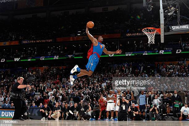 Dwight Howard of the Orlando Magic competes during the Sprite Slam Dunk Contest part of 2008 NBA AllStar Weekend at the New Orleans Arena on February...