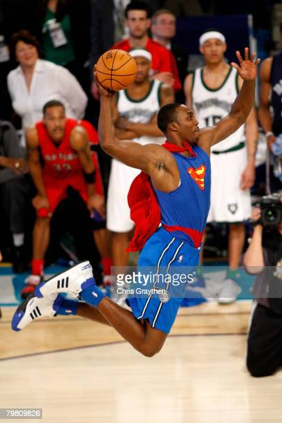 Dwight Howard of the Orlando Magic completes a dunk in the Sprite Slam Dunk Contest part of 2008 NBA AllStar Weekend at the New Orleans Arena on...