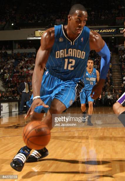 Dwight Howard of the Orlando Magic drives against the Sacramento Kings during an NBA game on January 13 2009 at ARCO Arena in Sacramento California...