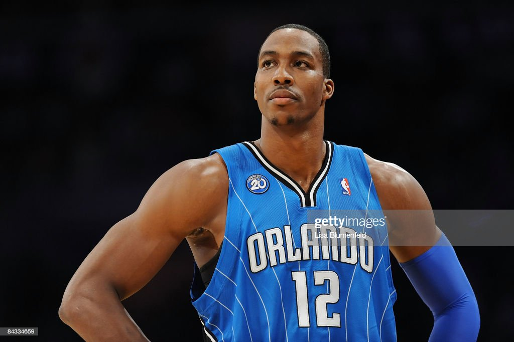 <a gi-track='captionPersonalityLinkClicked' href=/galleries/search?phrase=Dwight+Howard&family=editorial&specificpeople=201570 ng-click='$event.stopPropagation()'>Dwight Howard</a> #12 of the Orlando Magic looks during the game against the Los Angeles Lakers at Staples Center on January 16, 2009 in Los Angeles, California.