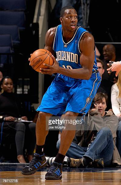 Dwight Howard of the Orlando Magic looks to pass during the game against the Memphis Grizzlies on January 23 2008 at FedExForum in Memphis Tennessee...