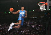 Dwight Howard of the Orlando Magic participates in the Sprite Slam Dunk Competition during NBA AllStar Weekend on February 17 2007 at Thomas Mack...