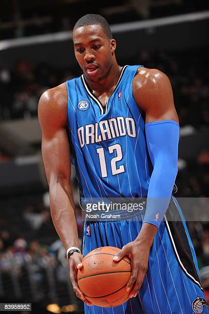 Dwight Howard of the Orlando Magic prepares to shoot a free throw during the game against the Los Angeles Clippers at Staples Center on December 8...