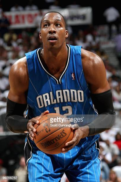 Dwight Howard of the Orlando Magic shoots a free throw against the Atlanta Hawks in Game Three of the Eastern Conference Semifinals during the 2010...