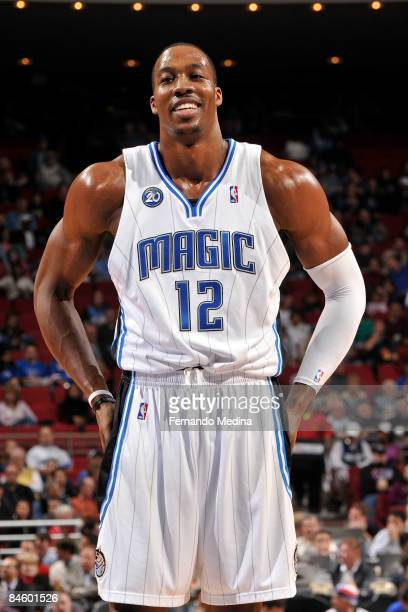 Dwight Howard of the Orlando Magic smiles during the game against the Dallas Mavericks on February 2 2009 at Amway Arena in Orlando Florida NOTE TO...