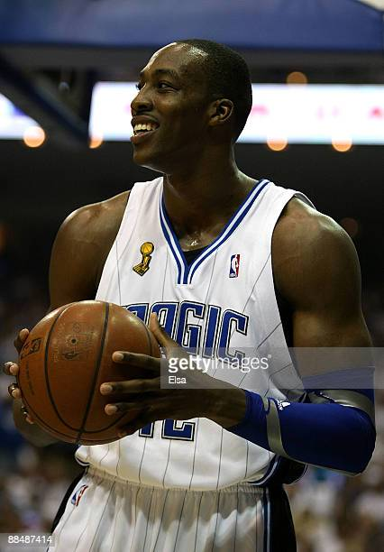 Dwight Howard of the Orlando Magic smiles in the first half against the Los Angeles Lakers in Game Five of the 2009 NBA Finals on June 14 2009 at...