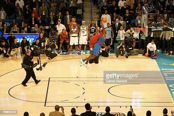 Dwight Howard of the Orlando Magic soars for a dunk during the Sprite Slam Dunk Contest during AllStar Weekend on February 16 2008 at the New Orleans...
