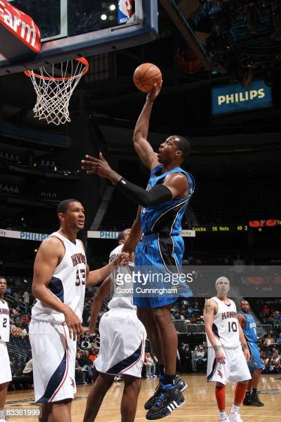 Dwight Howard of the Orlando Magic takes a shot against the Atlanta Hawks at Philips Arena on October 20 2008 in Atlanta Georgia NOTE TO USER User...