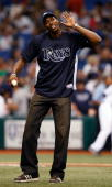 Dwight Howard of the Orlando Magic throws out the first pitch of the game between the Tampa Bay Rays and the New York Yankees at Tropicana Field July...