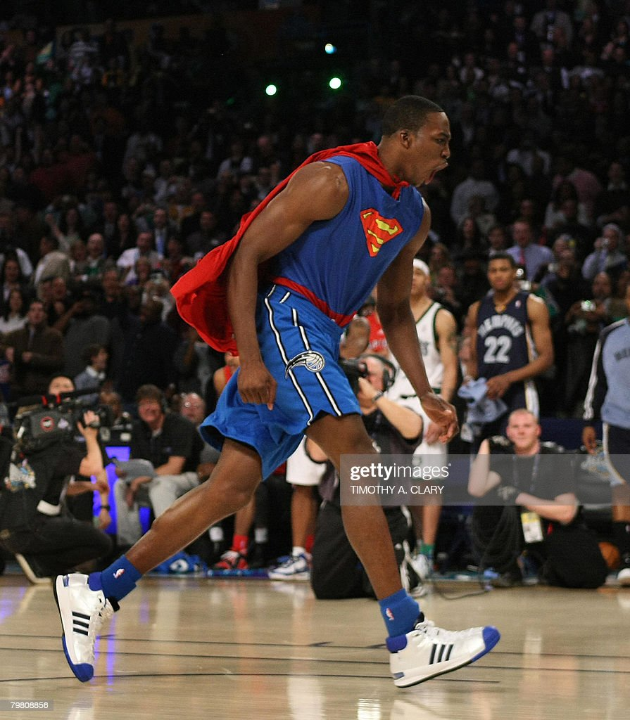 <a gi-track='captionPersonalityLinkClicked' href=/galleries/search?phrase=Dwight+Howard&family=editorial&specificpeople=201570 ng-click='$event.stopPropagation()'>Dwight Howard</a> of the Orlando Magic wearing a Superman Cape in the Sprite Slam-Dunk Contest reacts at the New Orleans Arena during the 2008 NBA All-Star Weekend February 16, 2008 in New Orleans, Louisiana. Howard won the contest with his series of dunks. AFP PHOTO TIMOTHY A. CLARY