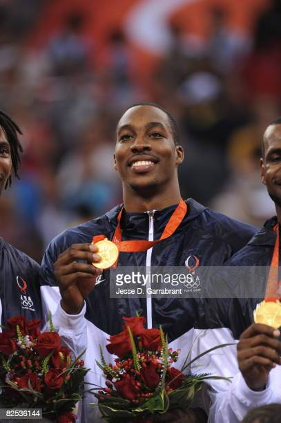 Dwight Howard of the US Men's Senior National Team celebrates winning the men's gold medal basketball game at the 2008 Beijing Olympic Games at the...