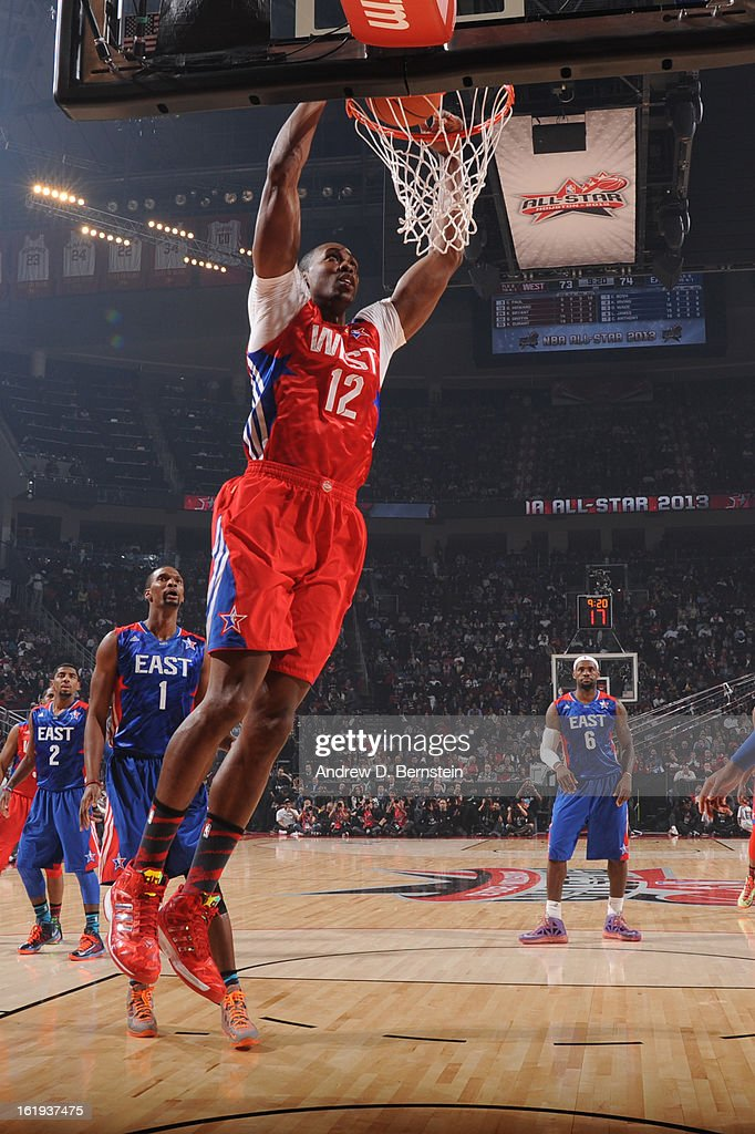 Dwight Howard #12 of the Western Conference All-Stars attempts a dunk during halftime at the 2013 NBA All-Star Game on February 17, 2013 at Toyota Center in Houston, Texas.