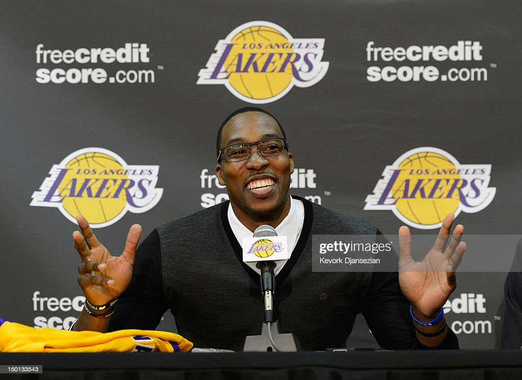 <a gi-track='captionPersonalityLinkClicked' href=/galleries/search?phrase=Dwight+Howard&family=editorial&specificpeople=201570 ng-click='$event.stopPropagation()'>Dwight Howard</a> speaks after being introduced to the media as the newest member of the Los Angeles Lakers during a news conference at the Toyota Sports Center on August 10, 2012 in El Segundo, California. The Lakers acquired Howard from Orlando Magic in a four-team trade. In addition Lakers wil receive Chris Duhon and Earl Clark from the Magic.