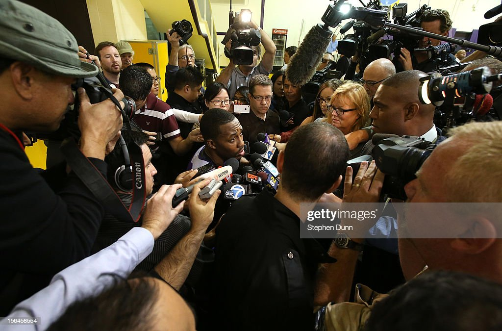 <a gi-track='captionPersonalityLinkClicked' href=/galleries/search?phrase=Dwight+Howard&family=editorial&specificpeople=201570 ng-click='$event.stopPropagation()'>Dwight Howard</a> #12 speaks to the media beforee a press confernece introducing Mike D'Antoni as the new Los Angeles Lakers head coach on November 15. 2012 at the Lakers practice facility at the Toyota Sports Center in El Segundo, California.