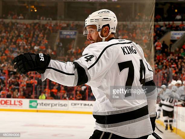 Dwight King of the Los Angeles Kings celebrates his goal in the third period against the Philadelphia Flyers at Wells Fargo Center on March 24 2014...