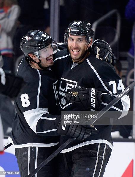 Dwight King of the Los Angeles Kings celebrates his goal with Drew Doughty to take a 31 lead over the Columbus Blue Jackets during the second period...