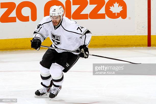 Dwight King of the Los Angeles Kings follows the play down the ice during third period action against the Winnipeg Jets on March 1 2015 at the MTS...