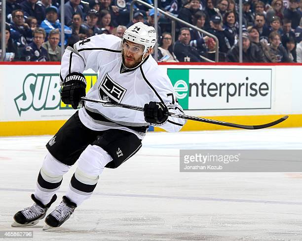 Dwight King of the Los Angeles Kings follows the play down the ice during first period action against the Winnipeg Jets on March 1 2015 at the MTS...