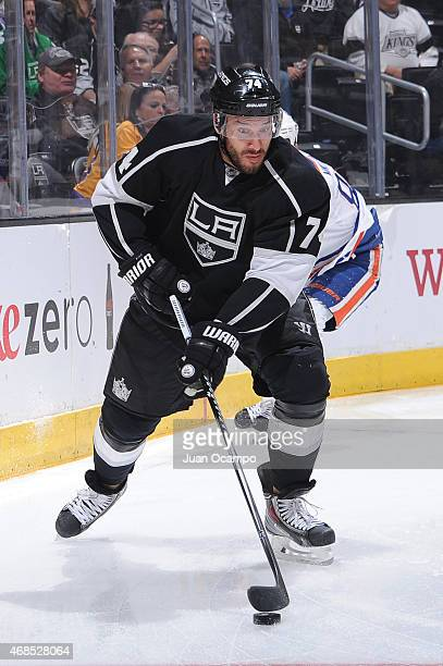 Dwight King of the Los Angeles Kings handles the puck during a game against the Edmonton Oilers at STAPLES Center on April 02 2015 in Los Angeles...