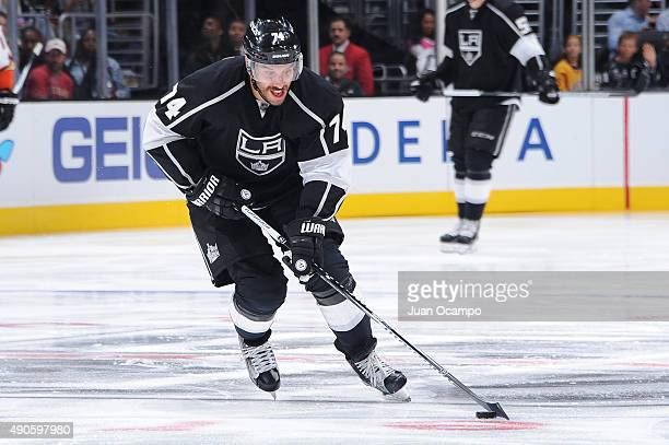 Dwight King of the Los Angeles Kings handles the puck during a game against the Anaheim Ducks at STAPLES Center on September 29 2015 in Los Angeles...