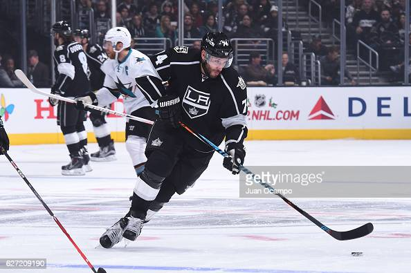 Dwight King of the Los Angeles Kings handles the puck during a game against the San Jose Sharks at STAPLES Center on November 30 2016 in Los Angeles...