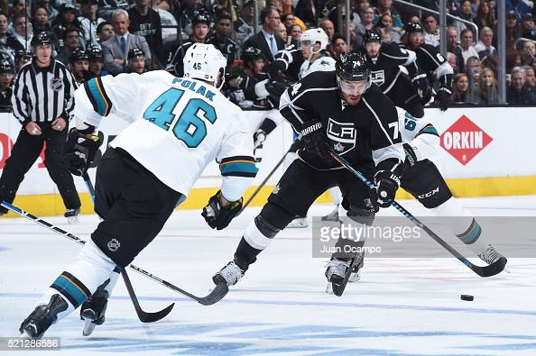 Dwight King of the Los Angeles Kings handles the puck in Game One of the Western Conference Quarterfinals against the San Jose Sharks during the 2016...