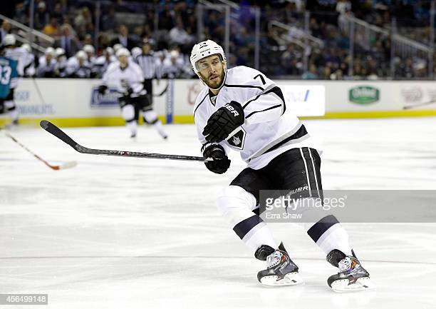 Dwight King of the Los Angeles Kings in action against the San Jose Sharks during their preseason game at SAP Center on September 30 2014 in San Jose...