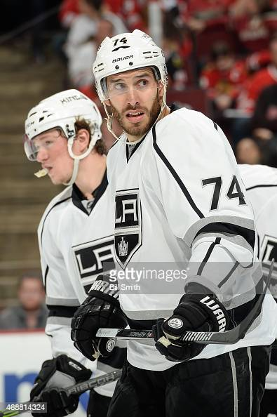 Dwight King of the Los Angeles Kings looks across the ice during the NHL game against the Chicago Blackhawks at the United Center on March 30 2015 in...