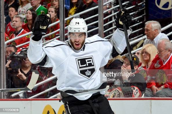 Dwight King of the Los Angeles Kings reacts after scoring against the Chicago Blackhawks in the second period in Game Five of the Western Conference...